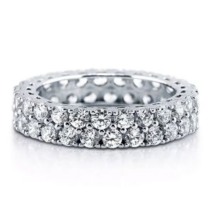 Solid Sterling CZ Eternity Rhinestone Ring Size 4